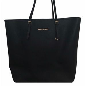 MK Jet Set Saffiano Tall Navy Leather Tote